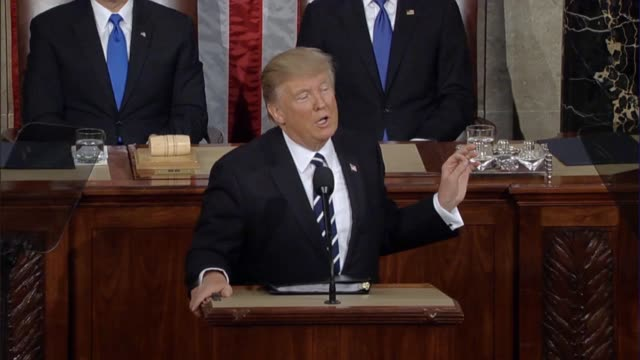 President Donald Trump tells a Joint Session of Congress that American leadership is based on vital security interests that are shared with allies of...