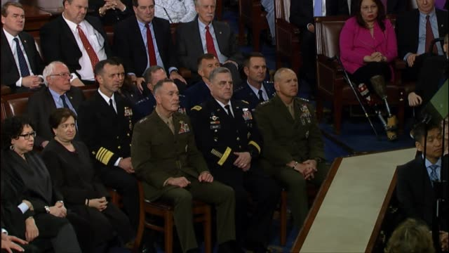 president donald trump tells a joint session of congress that american leadership is based on vital security interests that are shared with allies of... - joint session of congress stock videos and b-roll footage