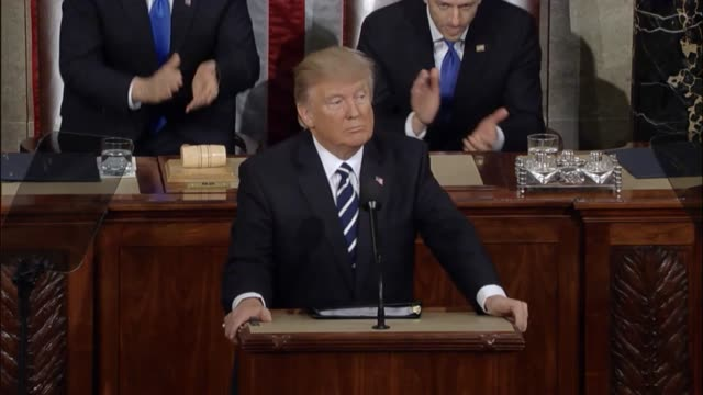 president donald trump tells a joint session of congress that the men and women of the military must be provided with the tools they need to prevent... - joint session of congress stock videos and b-roll footage