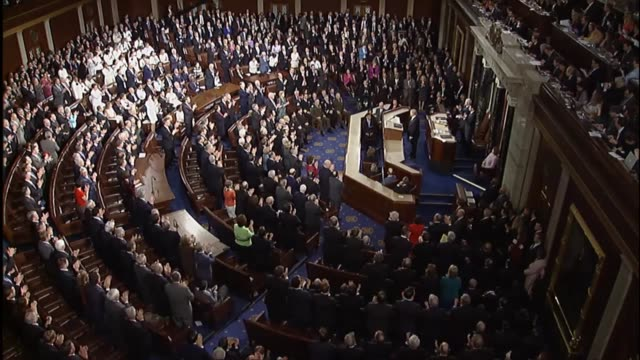 president donald trump tells a joint session of congress that the time has come for a national rebuilding saying that the united states has spent... - united states congress stock videos & royalty-free footage