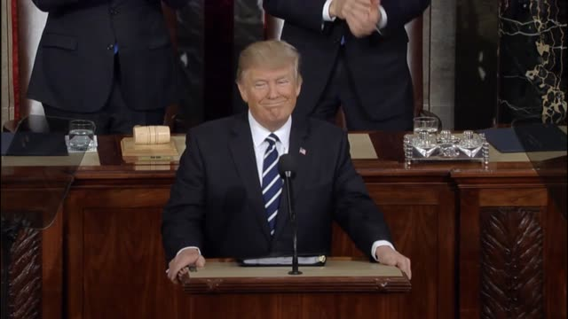 president donald trump tells a joint session of congress that he has created a task force to reduce violent crime and his efforts to fight illegal... - emigration and immigration stock videos & royalty-free footage