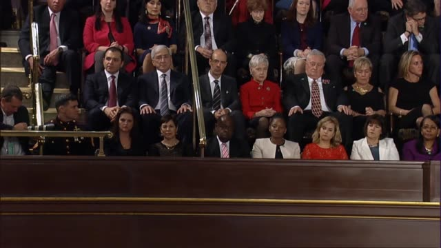 president donald trump tells a joint session of congress the stories of americans and law enforcement officers who lost their lives due to violence... - joint session of congress stock videos and b-roll footage