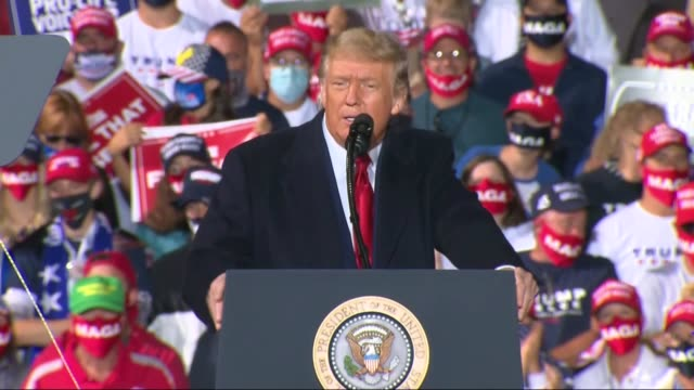 president donald trump tells an outdoor crowd at a toledo express airport campaign event that in 2016 reporters had announced polls in texas had... - sadness stock videos & royalty-free footage