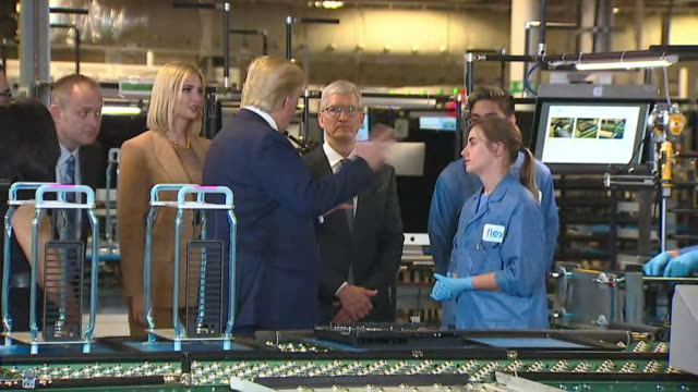 president donald trump tours an apple facility with apple ceo tim cook in austin, texas. - made in the usa short phrase stock videos & royalty-free footage