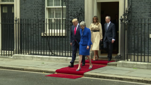 president donald trump us first lady melania trump arriving for their visit to 10 downing street on june 04 2019 in london england - donald trump us president stock videos and b-roll footage