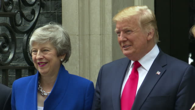 us president donald trump us first lady melania trump philip may british prime minister theresa may visit 10 downing street on june 04 2019 in london... - donald trump us president stock videos and b-roll footage