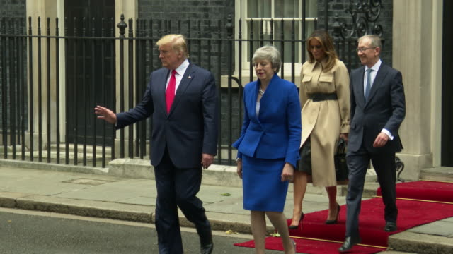 us president donald trump us first lady melania trump philip may british prime minister theresa may leave their visit 10 downing street on june 04... - donald trump us president stock videos and b-roll footage