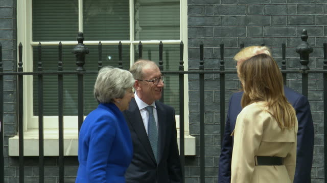 us president donald trump us first lady melania trump philip may british prime minister theresa may arriving at a visit to 10 downing street on june... - donald trump us president stock videos and b-roll footage