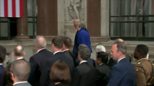 president donald trump walks into a joint press conference with british prime minister theresa may in london. - united states and (politics or government) stock videos & royalty-free footage
