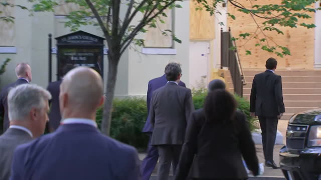 president donald trump walks towards st. johns episcopal church for a photo op following his speech on george floyd at the rose garden in washington... - photo call stock videos & royalty-free footage