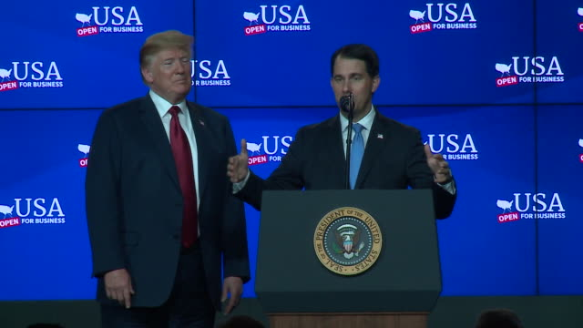 stockvideo's en b-roll-footage met president donald trump was in wisconsin on june 28 at the groundbreaking for a $10 billion foxconn plant. trump was joined by house speaker paul ryan... - plant stage