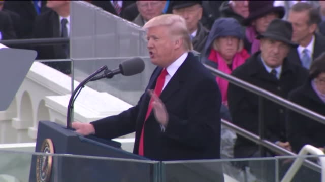 ktla president donald trump's inaugural address from this day forward a new vision will govern our land from this moment on it's going to be america... - präsident der usa stock-videos und b-roll-filmmaterial