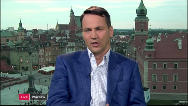 president duda blocks controversial judicial reforms following protests england london gir int radoslaw sikorski 2 way interview from warsaw sot - cathy newman stock-videos und b-roll-filmmaterial