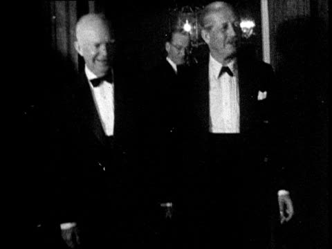 president dwight d eisenhower and prime minister harold macmillan walk out of door waving and smiling downing street london 01 sep 59 - 1950 1959 stock videos & royalty-free footage