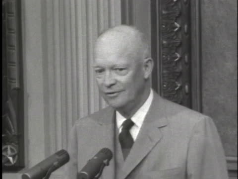 president dwight d. eisenhower calls for cooperation in little rock, arkansas, regarding desegregation of schools. - 1957 stock videos & royalty-free footage