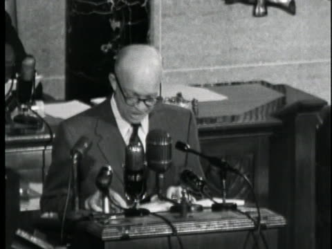 president dwight d. eisenhower delivers his 1953 state of the union message, stating his opposition to the continuation of wage and price controls. - business or economy or employment and labor or financial market or finance or agriculture stock videos & royalty-free footage