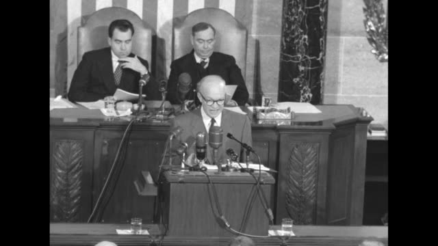 vs president dwight d eisenhower delivers state of the union address from podium in the well of the us house of representatives chamber behind him... - joseph w. martin jr stock videos & royalty-free footage