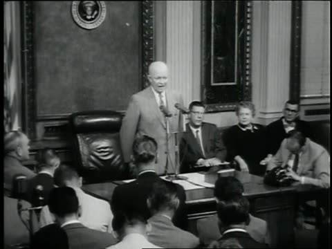 u.s. president dwight d. eisenhower speaks about the role of the soviet union in a coup in syria. - global politics stock videos & royalty-free footage