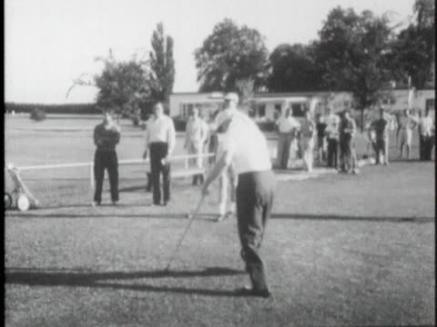 """president dwight d. """"ike"""" eisenhower enjoys a round of golf on labor day weekend. - sport stock videos & royalty-free footage"""