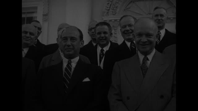 president dwight eisenhower and adlai stevenson photo opportunity on white house steps with republican democratic politicians / they turn to leave /... - adlai stevenson ii stock videos and b-roll footage
