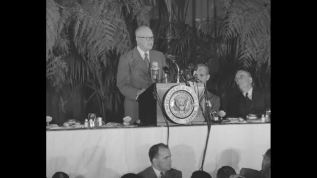 us president dwight eisenhower at meeting of the american society of newspaper editors / various overhead shots guests at dinner tables eisenhower at... - chance stock videos and b-roll footage