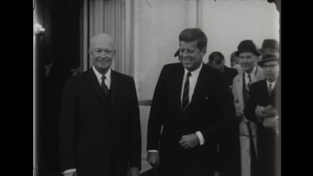 president dwight eisenhower meets president elect john f kennedy as first official meeting at the white house - john f. kennedy politik stock-videos und b-roll-filmmaterial