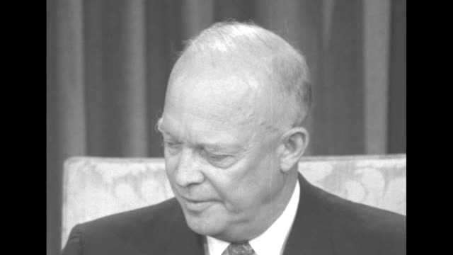 president dwight eisenhower waiting to begin speaking, then begins; puts on tortoiseshell eyeglasses before sot reading his proposed tax measures on... - employment document stock videos & royalty-free footage