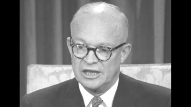 cu president dwight eisenhower wearing tortoiseshell eyeglasses discusses reduction in personal income tax rate on january 1 talks about taxation and... - dwight eisenhower stock videos & royalty-free footage