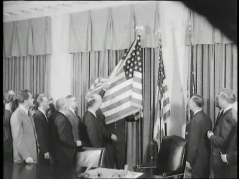 president eisenhower reveals the american flag with forty-nine stars upon alaska's statehood. - 1959 stock videos & royalty-free footage