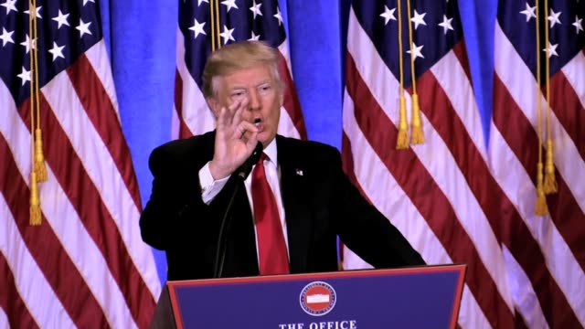 president elect first presser trump tower 1/11/17 'i have no dealings with russia i have no deals with russia i have no deals that could happen in... - politische wahl stock-videos und b-roll-filmmaterial