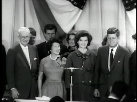 us president elect john f kennedy and his family pose for photographers following the election - john f. kennedy us president stock videos and b-roll footage