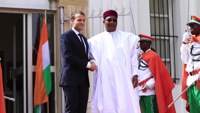 president emmanuel macron visited his counterpart in niger issoufou mahamadou on saturday where they discussed improvements to the country's... - mahamadou issoufou stock videos and b-roll footage