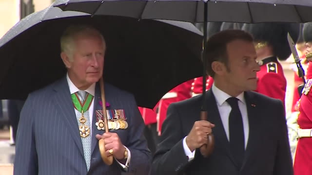 """vidéos et rushes de president emmanuel macron visits prince charles at clarence house to mark the 80th anniversary of bbc broadcast made by general charles de gaulle... - """"bbc news"""""""