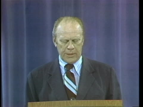 president ford speaks at a news conference about vietnamese fleeing their countries. - us president stock videos & royalty-free footage