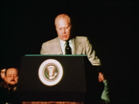 vidéos et rushes de president ford talking about vietnam war during speech on american leadership / audio - 1976