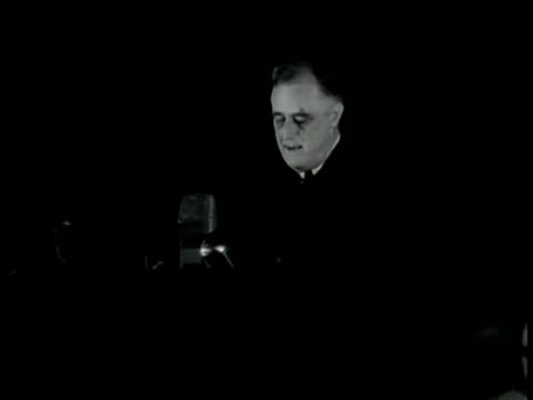 'stab in the back' speech president franklin d roosevelt address at university of virginia 'on this tenth day of june 1940 the hand that held the... - アメリカ大統領点の映像素材/bロール