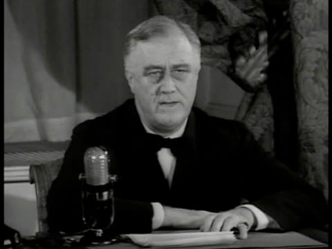 president franklin d roosevelt at desk 'those who say axis powers do not have desire to attack western hemisphere dangerous thinking has destroyed... - axis powers stock videos & royalty-free footage