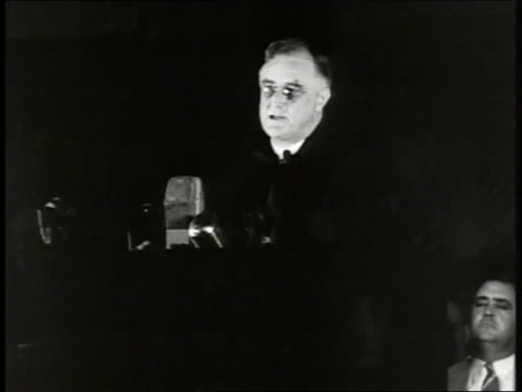 president franklin d roosevelt behind podium black bg 'overwhelmingly we as a nationgods of force hatedemocracy at stakelove of freedom still fierce'... - university of virginia stock videos & royalty-free footage