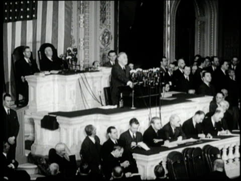 US President Franklin D Roosevelt delivers his 1943 State of the Union Address to Congress during World War II