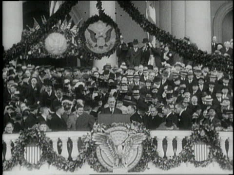 vídeos de stock, filmes e b-roll de president franklin d. roosevelt delivers his first inauguration speech, the only thing we have to fear is fear itself. - 1933