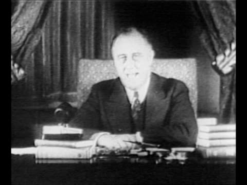 SOT President Franklin D Roosevelt encourages US citizens to have faith during the Great Depression unite to banish fear support restoration of...