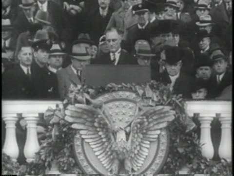 vídeos y material grabado en eventos de stock de president franklin d. roosevelt gives his inauguration speech. - las américas