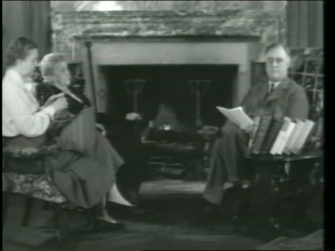 president franklin d roosevelt gives speech in celebration of brotherhood day accompanied by his mother and eleanor roosevelt fdr brotherhood day... - franklin roosevelt stock videos & royalty-free footage
