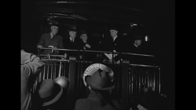 president franklin d roosevelt on rear train platform with secretary of state cordell hull assistant war secretary louis johnson and state... - cordell hull stock videos and b-roll footage
