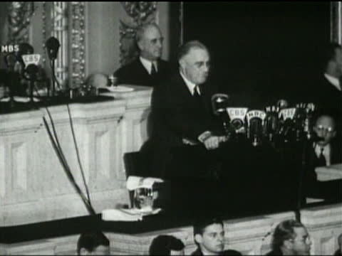 president franklin d. roosevelt speaks to congress about raising taxes for war expenses and foreign aid. - organised group stock videos & royalty-free footage