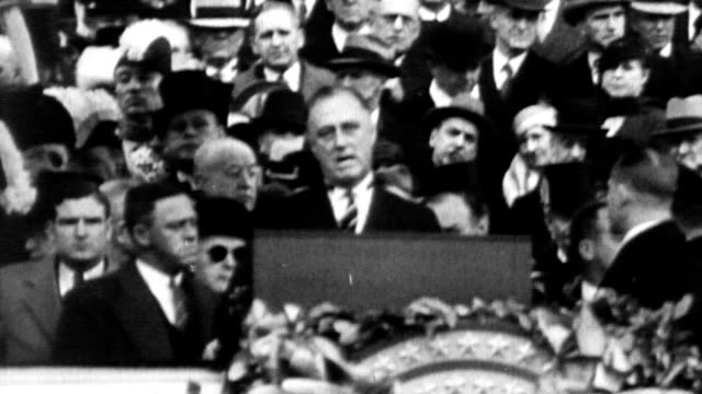 President Franklin Delano Roosevelt 32nd president of the USA / Chief Justice Charles E Hughes administers the oath / Capitol building with crowds...