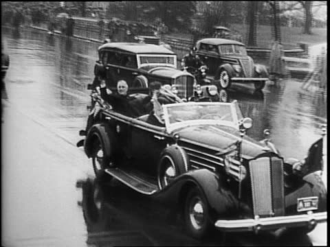 president franklin delano roosevelt attending church on anniversary of his first inauguration on march 4, 1944 view of white house / car leaving /... - st. john's church riga stock videos & royalty-free footage