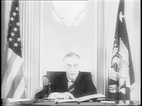 president franklin delano roosevelt delivers a message from his desk at the white house, outlining his support of a national service law, which would... - narrating stock videos & royalty-free footage