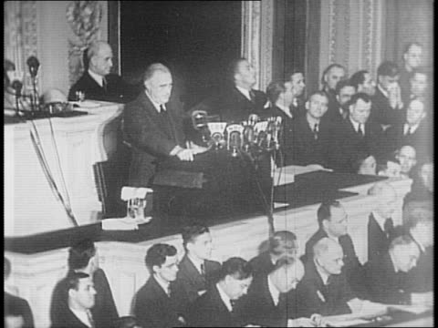 president franklin roosevelt giving speech to congress on freedom / cites importance of freedom of speech religion freedom from want and fear - franklin roosevelt stock videos & royalty-free footage