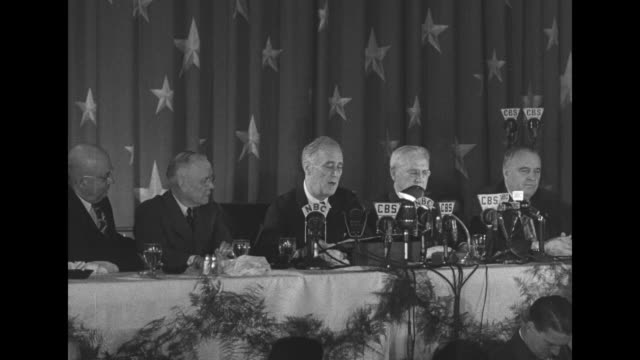 president franklin roosevelt seated with officials speaking at a dinner of the international brotherhood of teamsters [discusses labor baiting and... - henry j. kaiser stock videos and b-roll footage